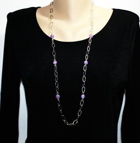 Long Necklace with Large Oval Link Silver Filled Chain and Light Amethyst Gemstone Beads