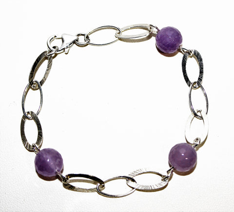 Large Oval Link Silver Filled Chain with Light Amethyst Gemstone Beads Bracelet