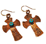 Textured Copper and Turquoise Cross Earrings with Rose Gold Filled Ear Wires