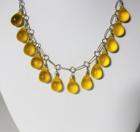 Czech Amber Teardrops on Sterling Chain Necklace Set
