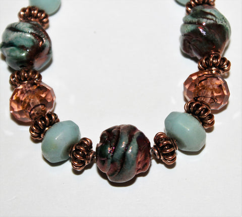 Blue Green Raku, Lampwork and Amazonite with Copper bracelet