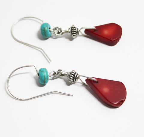 Deep Red Coral Teardrop Beads with Turquoise Rondelle and Sterling Earrings