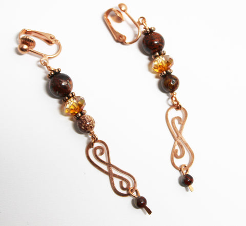 Poppy Jasper and Copper Wirework Earrings