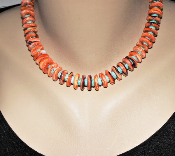 Southwest Orange Spiny Oyster And Turquoise Sterling