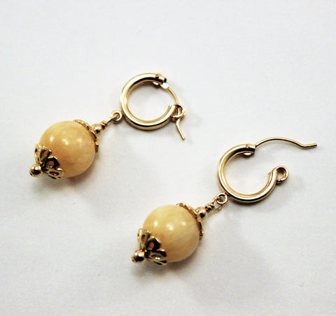 Creamy Yellow Calcite Gemstone and Gold Filled Hoop Earrings