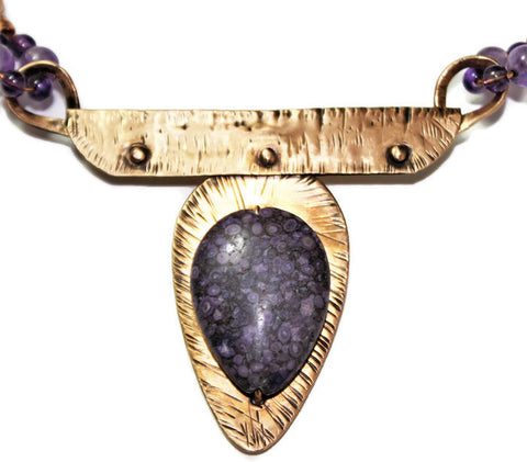 Bronze Pendant with Purple Fossil Coral and Amethyst on Neck Wire