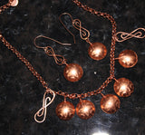Handcrafted Copper Domes with Czech Disc Beads on Copper Chain Necklace and Earrings Set
