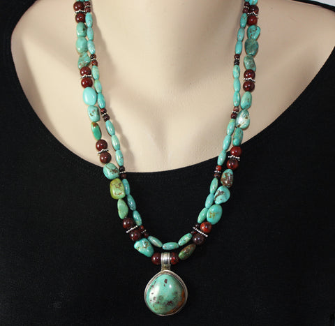 Native American Pendant Double Strand Turquoise, Jasper, Sterling Necklace