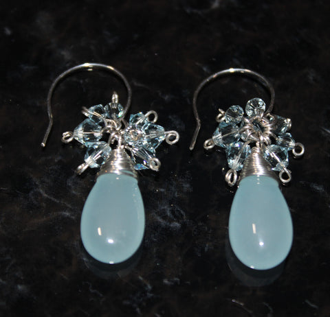 Light Blue Chalcedony and Swarovski Crystal Sterling Earrings