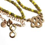 Bronze Snake Pendant with Lemon Jade Beads on Bronze Chain