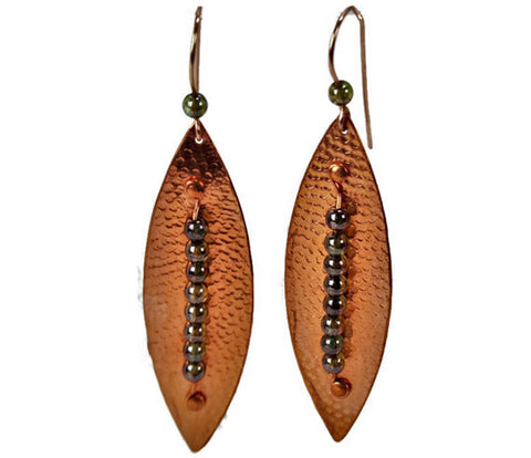 Textured Pointed Leaf Copper Earrings with Green Czech Druk Beads
