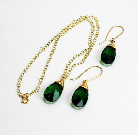 Swarovski Green Teardrop Gold Filled Wrapped Pendant Necklace Set