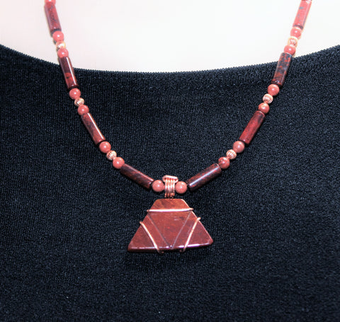 Men's or Women's Unique Red Jasper and Copper Necklace