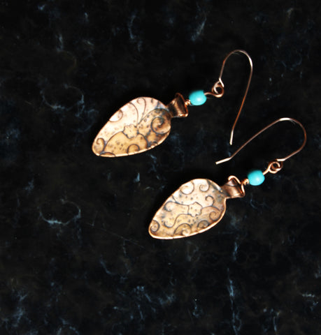 Copper Teardrop Embossed Earrings and Turquoise Beads Gold Filled Wires