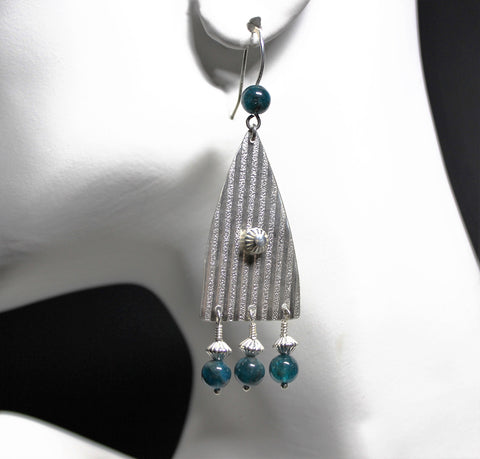 Patterned Fine 99.9 Silver and Blue Apatite Earrings