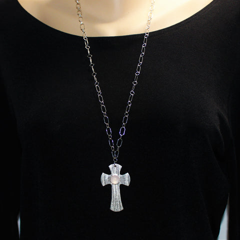Sterling Textured Cross with Rose Quartz Cabochon on Silver Chain