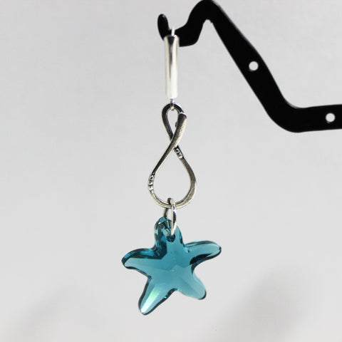 Swarovski Aqua Blue Starfish Crystals and Sterling Drop Earrings