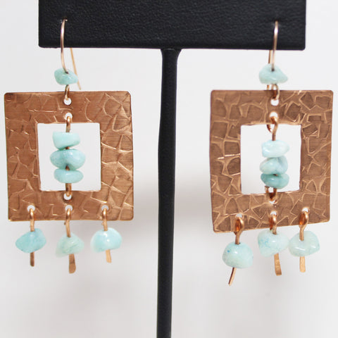 Square Embossed Copper and Amazonite Earrings Gold Filled Wires