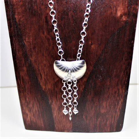 Sterling Shell Shaped Pendant with Heart Dangles on Silver Chain