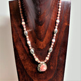 Native American Rhodochrosite Pendant with added Beads and Sterling Necklace