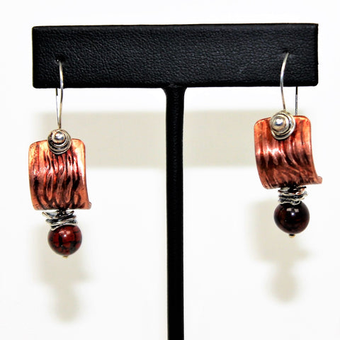 Copper And Sterling Poppy Jasper Earrings