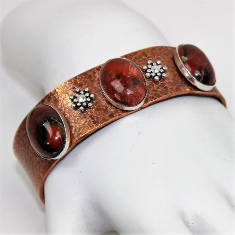 Fabricated Textured Copper Cuff Bracelet with Sterling and Jasper Cabs