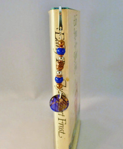 Cobalt Blue Beads with Copper and Silver Beaded Bookmark