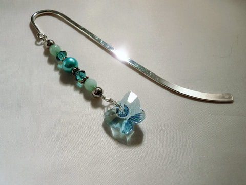 Swarovski Blue Butterfly Pendant and Crystals Shepherd's Hook Bookmark