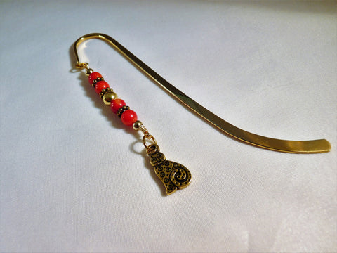 Gold Plated Shepherd's Hook Bookmark with Red Beads and Cat Charm