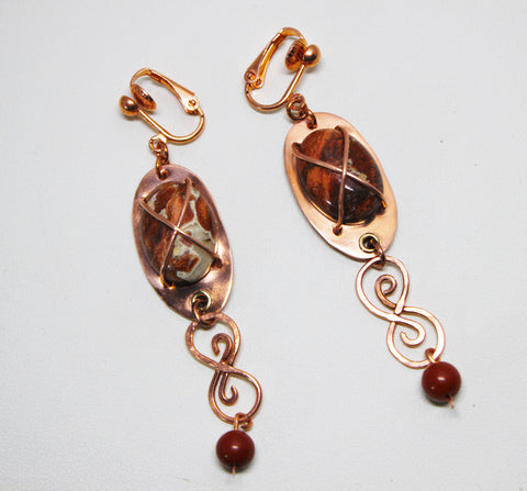 Copper Earrings with Red Jasper Cabochons and Beads and Copper Wirework