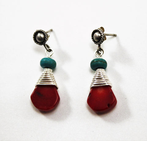 Teardrop Coral Turquoise Fine Silver Wrapped Earrings Custom Order