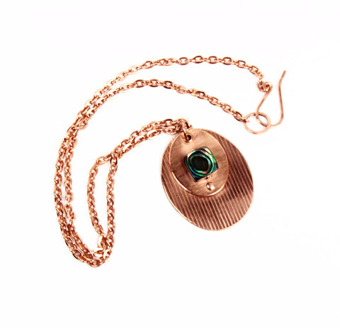 Textured Copper Pendant with Abalone on Copper Chain