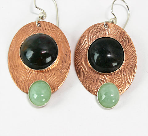 Textured Copper and Sterling Green Agate and Amazonite Earrings