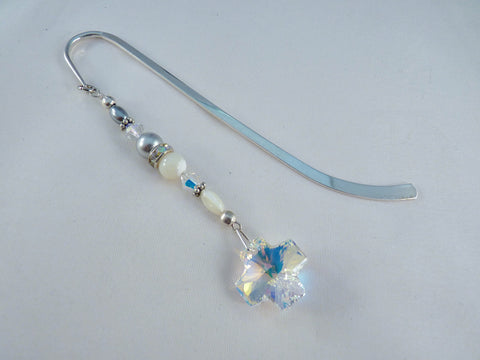 Swarovski AB Crystal Cross and Sterling Plated Bookmark