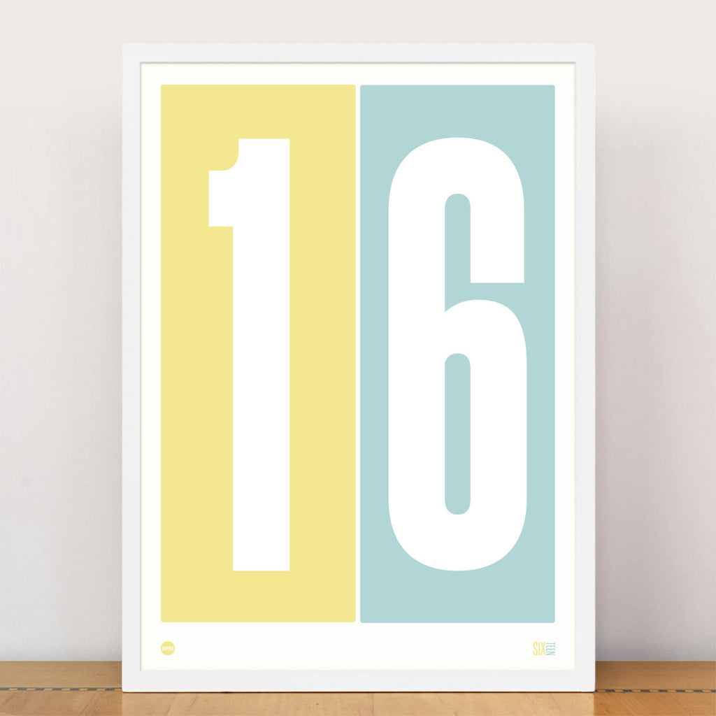 Duck Egg Blue & Lemon Numbers Print