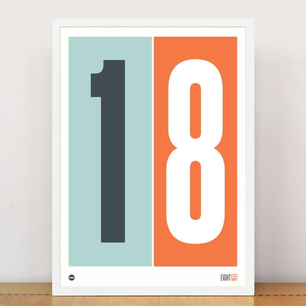 Burbia Duck Egg Blue & Orange Numbers Print