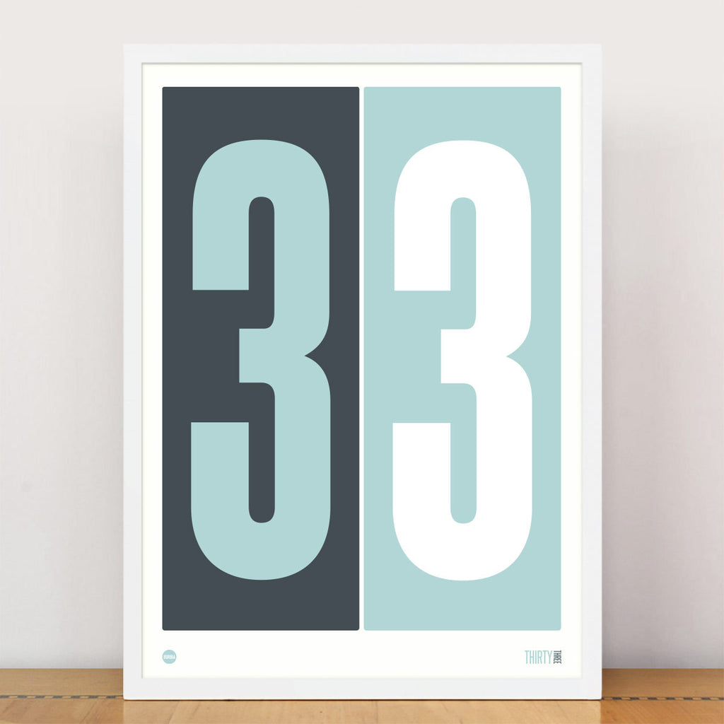 Stormy Grey & Duck Egg Blue Numbers Print