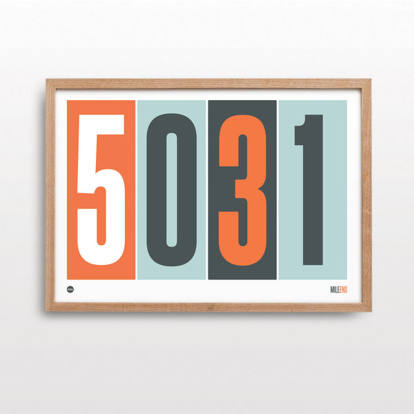 Burbia Orange Postcode Print
