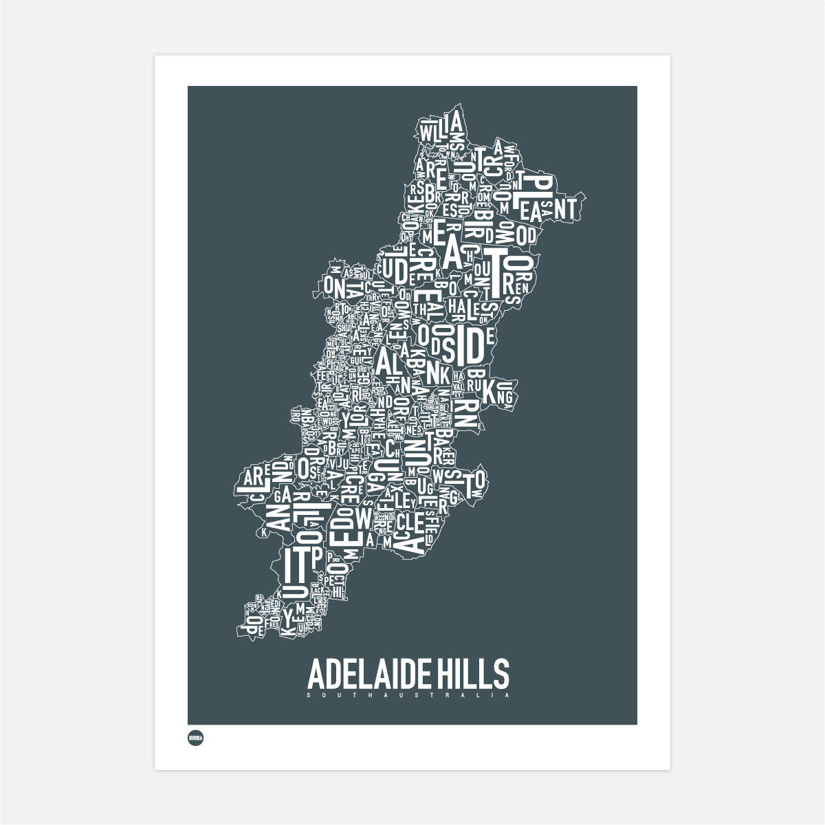 Burbia Adelaide Hills Type Map Print Canvas