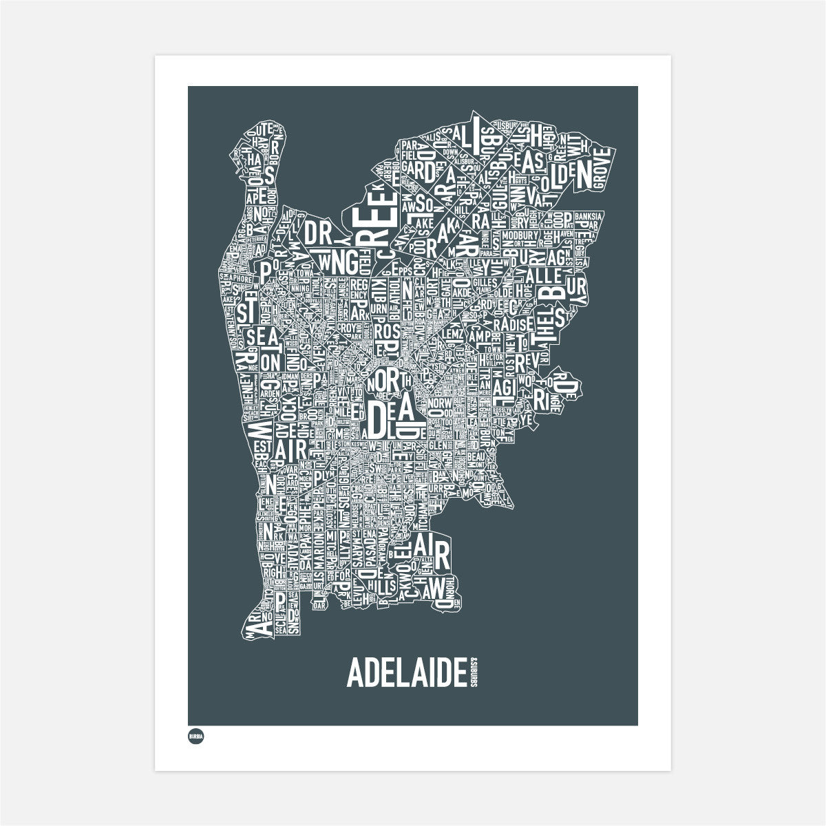 Burbia Adelaide Type Map Print Canvas