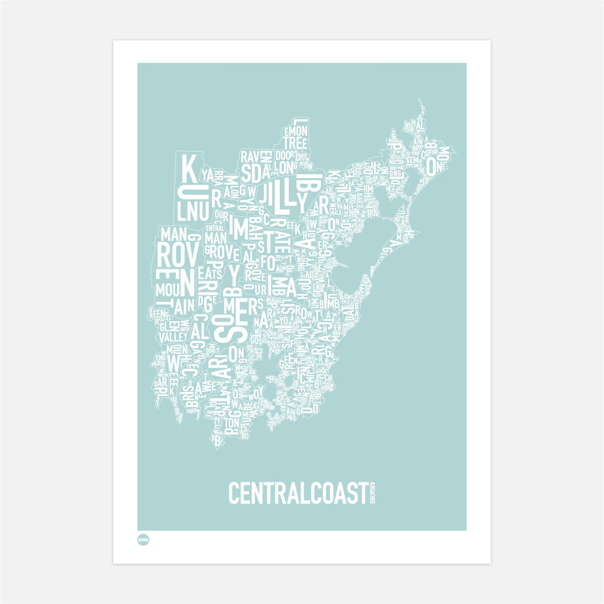 new central coast type map print map australia