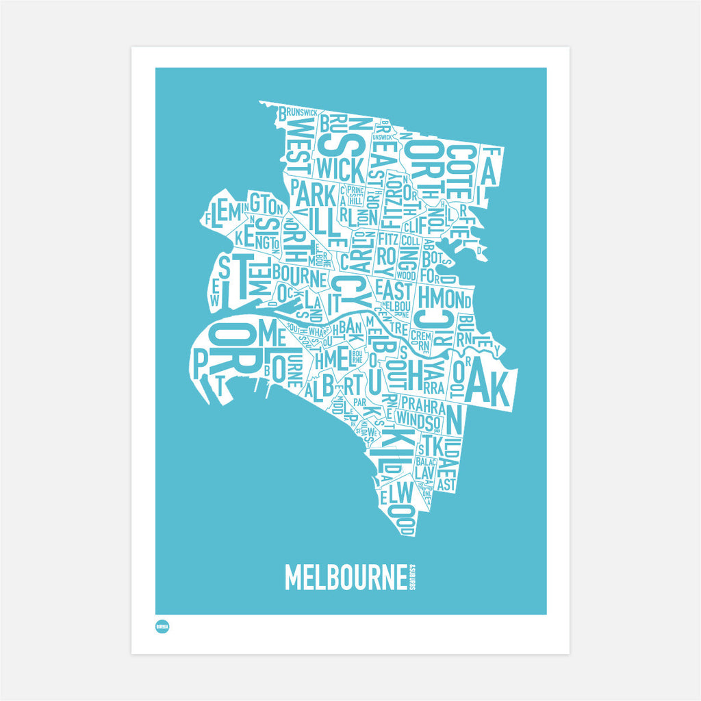 Melbourne Block Print in Ocean Blue