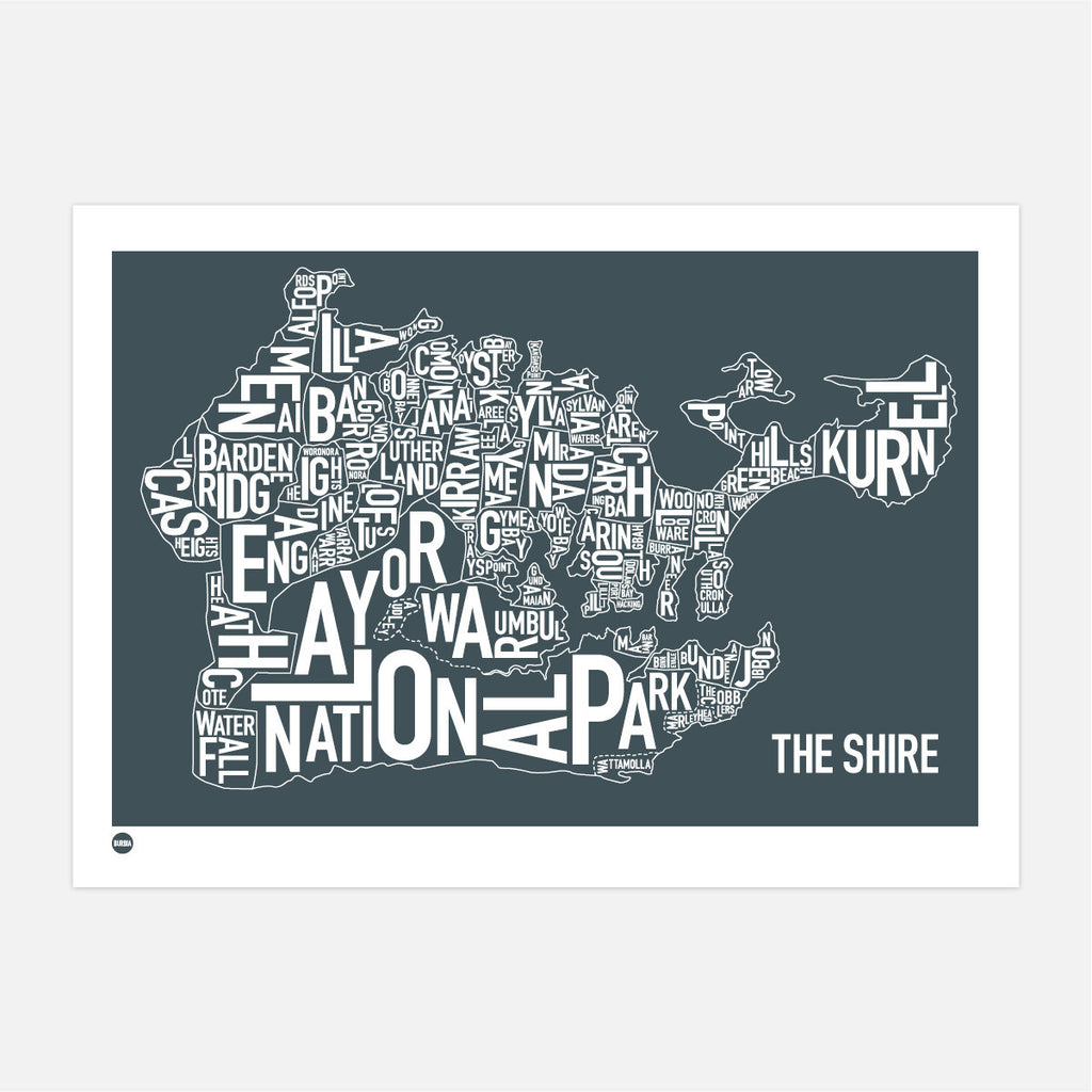 Burbia The Shire Type Print