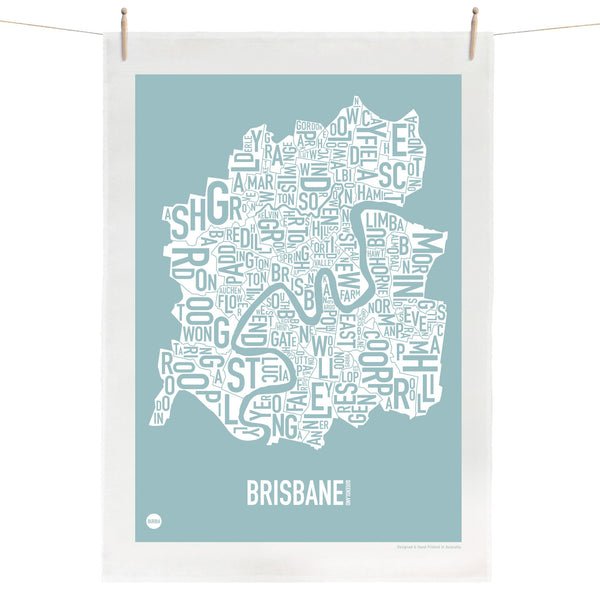 Brisbane Type Print Tea Towel