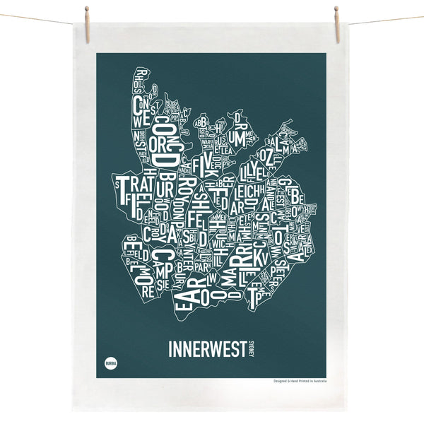 Burbia Sydney Inner West Type Print Tea Towel