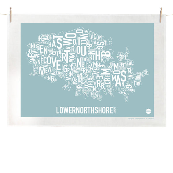 Burbia Sydney Lower North Shore Type Print Tea Towel