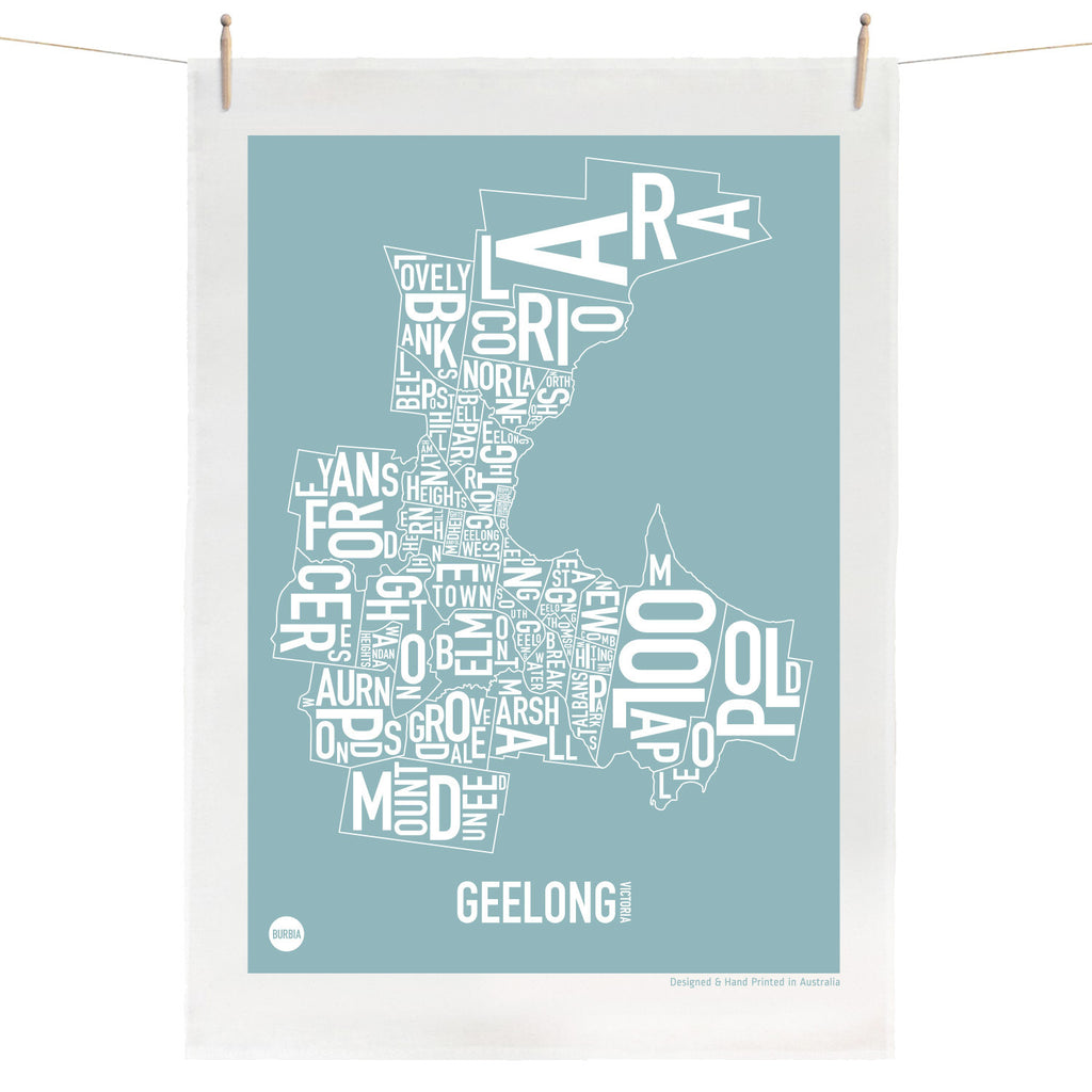 Burbia Geelong Type Print Tea Towel