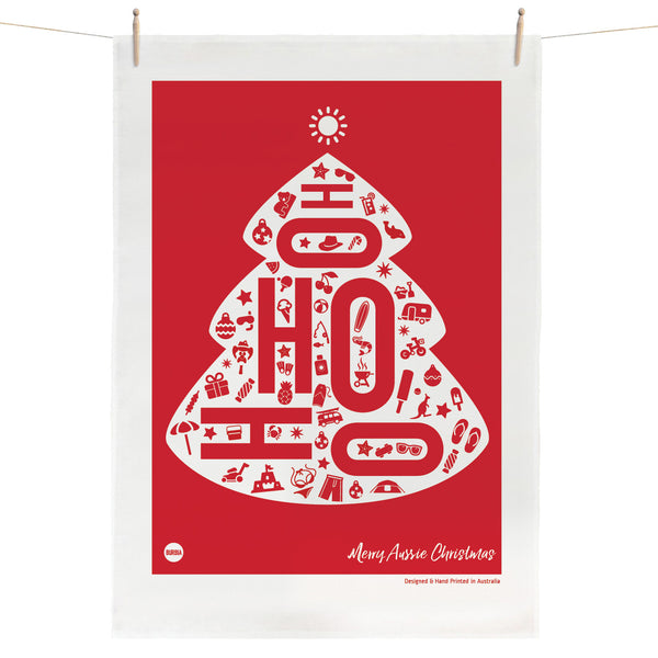 Hohoho Aussie Christmas Tea Towel