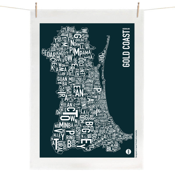 Burbia Gold Coast Type Map Tea Towel