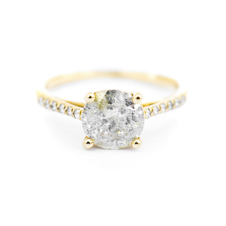 Four Prong Solitaire With Side Diamonds